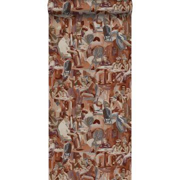 papier peint motif figurativ brun rouille de Origin
