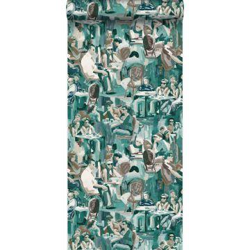 papier peint motif figurativ vert émeraude de Origin