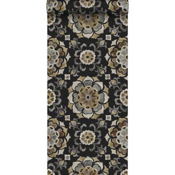 papier peint fleurs suzani noir de Origin