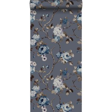 papier peint fleurs vintage bleu et taupe de Origin