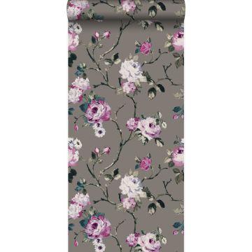 papier peint fleurs taupe et lilas violet de Origin