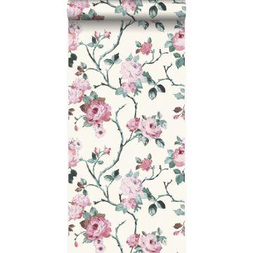 papier peint fleurs blanc et rose clair de Origin
