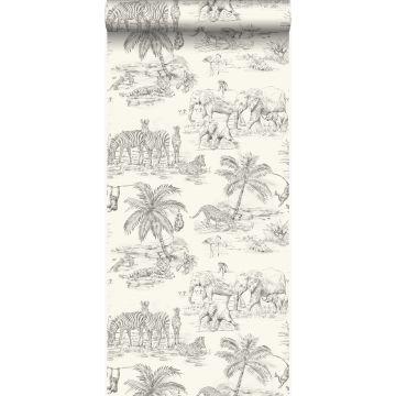papier peint jungle blanc d'ivoire et gris de Origin