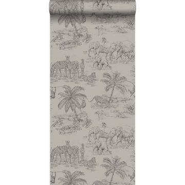 papier peint jungle gris argileux de Origin