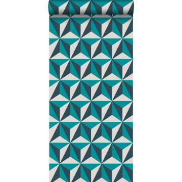 papier peint graphique 3D turquoise de Origin