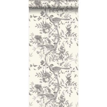 papier peint oiseaux blanc d'ivoire et gris de Origin