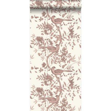 papier peint oiseaux blanc d'ivoire et brun cuivré brillant de Origin
