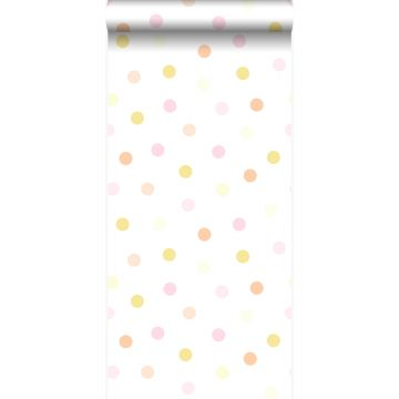 papier peint à motif de points jaune pastel, orange pêche pastel, rose poudre clair et blanc mat de Origin