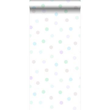 papier peint à motif de points violet lavende pastel, vert menthe pastel, gris argent brillant et bleu pastel de Origin