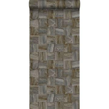 PP intissé éco texture morceaux carrés de déchets de bois brun foncé de Origin