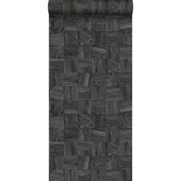 PP intissé éco texture morceaux carrés de déchets de bois noir de Origin