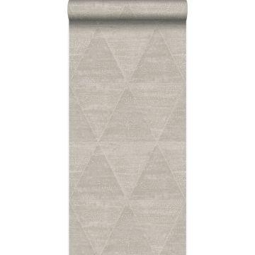 papier peint triangles métalliques vieillis, altérés et touchés argent chaud de Origin