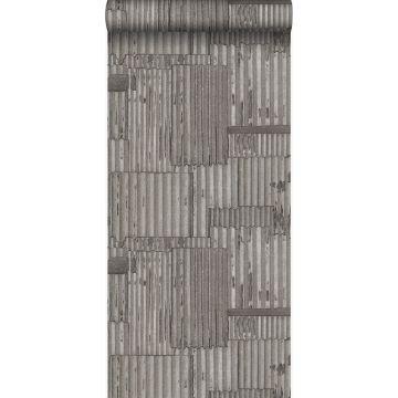 papier peint tôles ondulées en métal industrielles 3D gris foncé de Origin