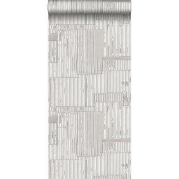 papier peint tôles ondulées en métal industrielles 3D blanc cassé de Origin