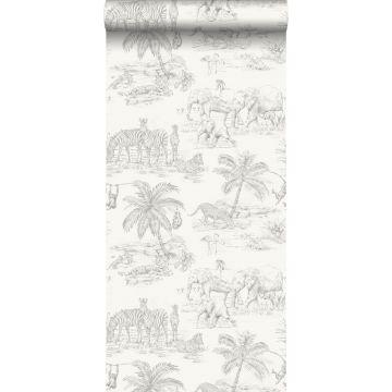 papier peint safari blanc brillant et gris argent de Origin
