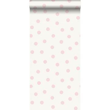 papier peint à motif de petits points rose brillant et blanc de Origin