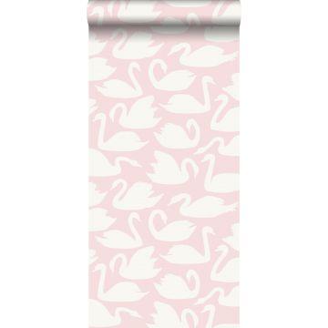 papier peint cygnes rose et blanc de Origin