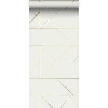 papier peint lignes graphiques beige et or de Origin
