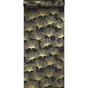 papier peint feuilles de ginkgo noir et or de Origin