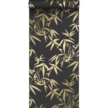 papier peint feuilles de bambou noir et or de Origin