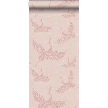 papier peint oiseaux de grue vieux rose de Origin
