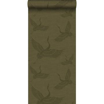 papier peint oiseaux de grue moutarde verte de Origin