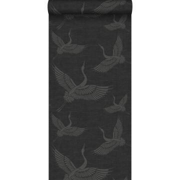 papier peint oiseaux de grue gris foncé de Origin