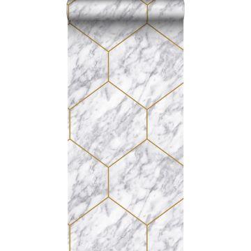 papier peint hexagone effet marbre blanc, gris et or de Origin