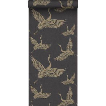 papier peint oiseaux de grue noir et or de Origin