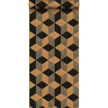 papier peint intissé XXL motif graphique marron clair et brun foncé de Origin