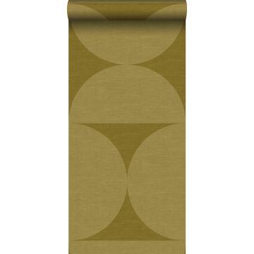 papier peint intissé XXL demi-cercles moutarde verte de Origin
