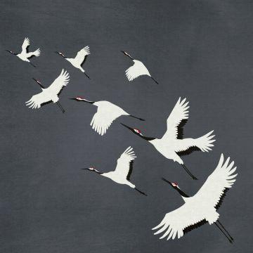 papier peint panoramique oiseaux de grue gris foncé de Origin