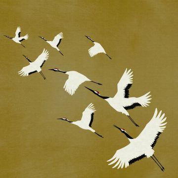 papier peint panoramique oiseaux de grue jaune ocre de Origin