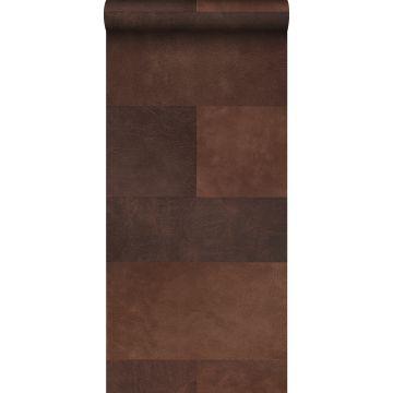 papier peint intissé XXL motif de carrellages avec imitation cuir marron de Origin