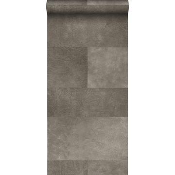papier peint intissé XXL motif de carrellages avec imitation cuir gris chaud de Origin