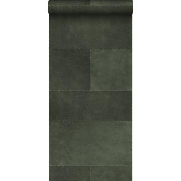 papier peint intissé XXL motif de carrellages avec imitation cuir vert foncé de Origin