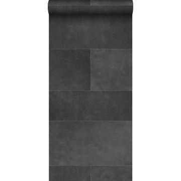 papier peint intissé XXL motif de carrellages avec imitation cuir gris foncé de Origin