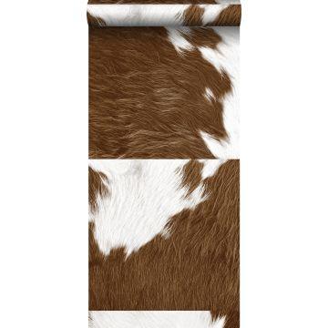 papier peint intissé XXL imitation peau de vache marron et blanc de Origin