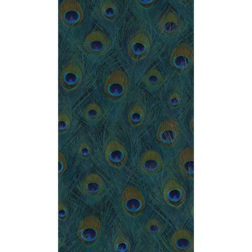 papier peint panoramique plumes de paon bleu canard de Origin