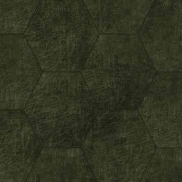 panneaux muraux éco-cuir adhésifs hexagone vert olive grisé de Origin