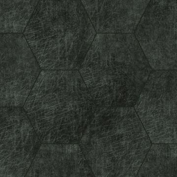panneaux muraux éco-cuir adhésifs hexagone gris charbon de bois de Origin