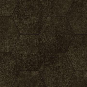 panneaux muraux éco-cuir adhésifs hexagone brun foncé de Origin