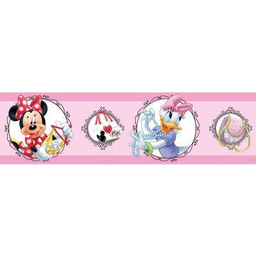 frise de papier peint adhésive Minnie Mouse & Daisy Duck rose de Sanders & Sanders