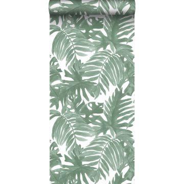 papier peint feuilles de palmier vert grisé de Sanders & Sanders